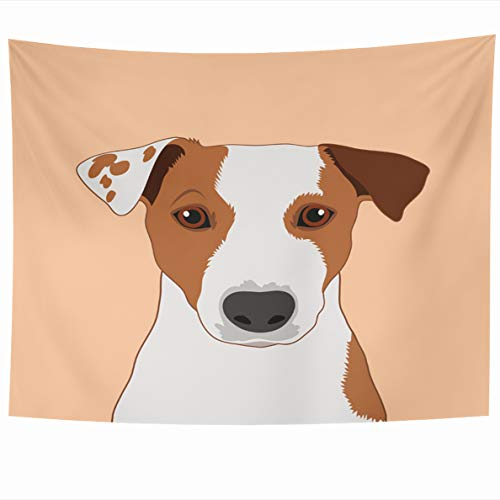 Ahawoso Tapestry 80x60 Inches Face Jack Russell Terrier Santa Buddy Dog Head Outline Bark Graphic Mexican Wall Hanging Home Decor Tapestries for Living Room Bedroom Dorm