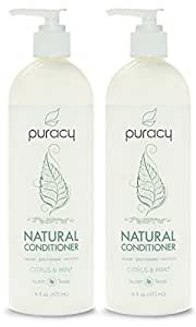 Puracy Natural Daily Conditioner, Sulfate Free Hair Moisturizer, Developed by Doctors Using Clinically Superior Ingredients, Citrus and Mint, 16 Ounce Bottle, (Pack of 2)