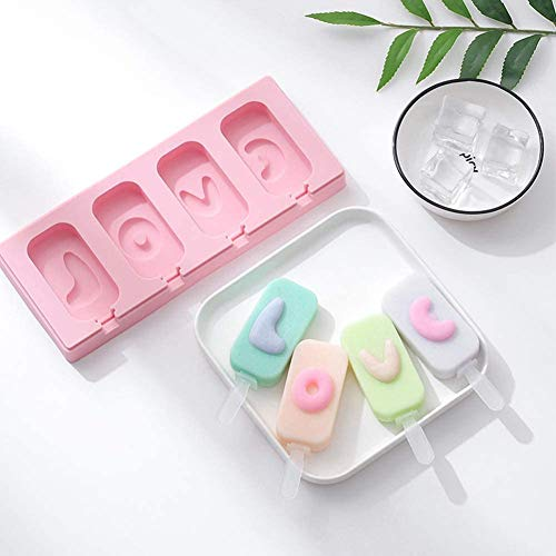 2 Pack 4 Cavity Ice Cream Bar Molds with Lid, Different Shapes Reusable Silicone DIY Popsicle Maker with Sticks, Homemade Ice Pop Molds for Egg Bites Lollipop Chocolate & Ice Cube Trays