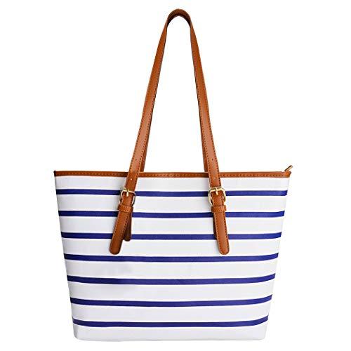 Summer Bag,COOFIT Stripes Purse Tote Shoulder bag Womens Handbag PU Leather Purse Blue&White (Stripe Tote Bag Purse)