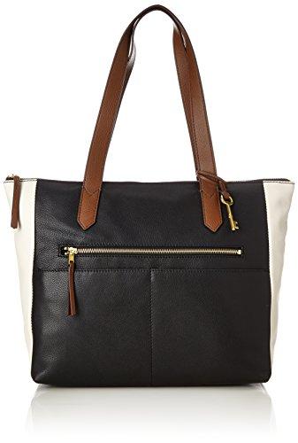 Fossil Women's Damentasche? Fiona Ew Shopper Tote Black (Black/White)