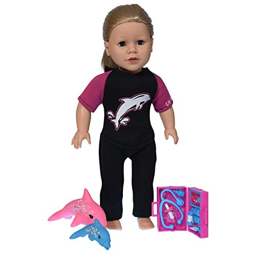 (New York Doll Collection Dolphin Trainer set 3-piece Multi-color for 18-inch Dolls)