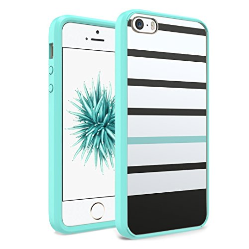 iPhone SE Case, iPhone 5s / iPhone 5 Case, Capsule-Case Hybrid Slim Hard Back Shield Case with Fused TPU Edge Bumper (Teal Green) for iPhone SE/iPhone 5s / iPhone 5 - (Black Mint Stripe)