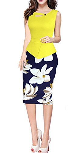 HIMONE Women Colorblock Wear to Work Business Party Bodycon One-piece Dress Yellow Large (Colorblock 2 Piece Dress)