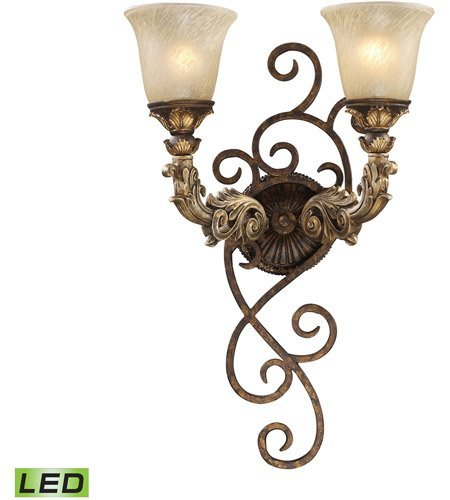 Wall Sconces 2 Light LED With Burnt Bronze And Gold Leaf Finish Medium Base 6 inch 19 Watts - World of Lamp (Gold Sconce Leaf Burnt)