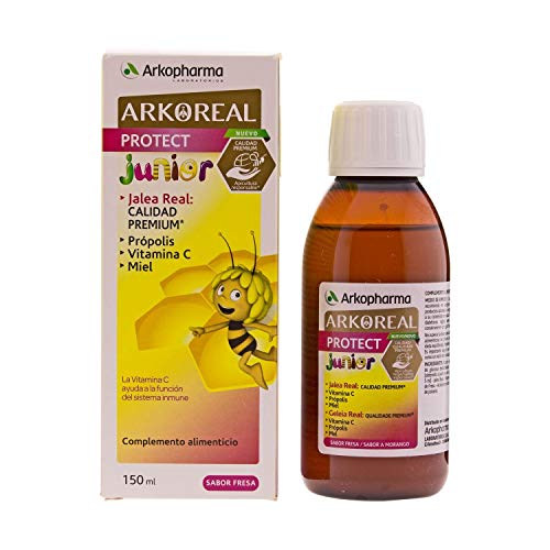 Arkopharma Arkoreal Royal Jelly Protect Syrup Junior 150ml - Strengthen The Immune System - Premium Quality - Propolis & Vitamin C - Strawberry Flavoured