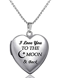 Love Heart Locket Necklace That Holds Pictures Engraved I Love You to The Moon and Back Photo Lockets