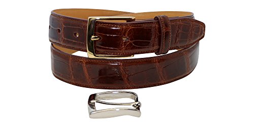 Size 36 Cognac Gloss Genuine American Alligator Men's Belt - 1 ¼ inch (32mm) Wide - Gold & Silver Buckles - Factory Direct Price - Gift Box - Made in USA by Real Leather Creations (Exotic Skin Belts)