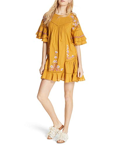 Free People Womens Pavlo A-line Baby Doll Dress, Yellow, Small