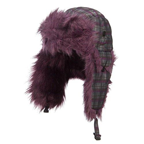 Plaid Nylon Faux Fur Trooper Hat - Purple XL