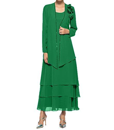 Brautmutterkleider Chiffon Knoechellang Abendkleider Damen Langarm Jaket Charmant Promkleider Partykleider Mit Grün qOH6f7x