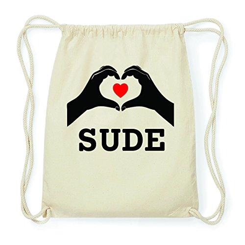 JOllify SUDE Hipster Turnbeutel Tasche Rucksack aus Baumwolle - Farbe: natur Design: Hände Herz