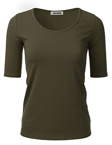 - SSOULM Women's 1/2 Sleeve Crewneck Cotton Basic Slim Fit T-Shirt Top DARKOLIVE 1XL