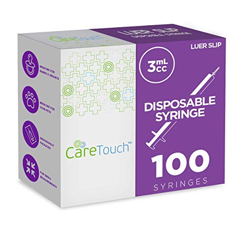 3ml Syringe with Luer Slip Tip - 100 Sterile Syringes by Care Touch - No Needle, Great for Dispensing Oral Medicine and Home Care
