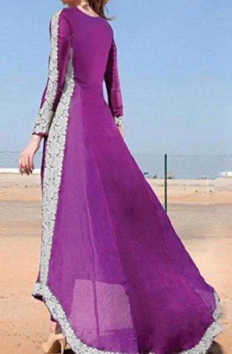 Coolred-femmes Partie Ourlet En Dentelle Ourlet Asymétrique De Taille Plus Élégante Robe Longue Violette