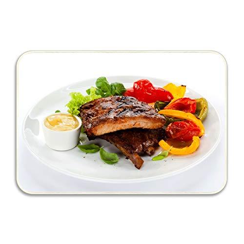 WYFG Machine-Washable Door Mat Ibs Meat Dish Vegetables Herbs Mustard Indoor/Outdoor Decor Rug Doormat 16