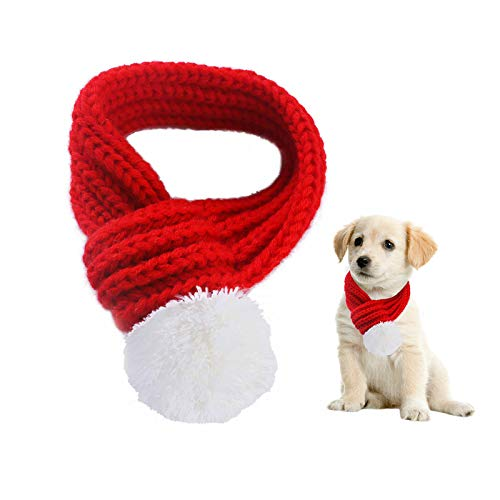 MORFONG Pet Dog Costumes Christmas Scarf Knitted Red Sweaters Scarfs Apparel for Small Medium Large Dogs Cats Puppies