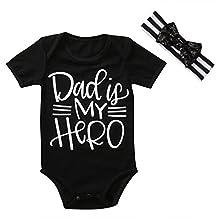 Infant Baby Boy Girl Hero Print Short Sleeve Summer Romper+Lace Bowknot Headband