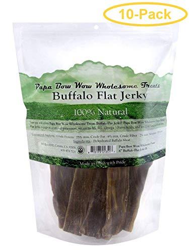 Papa Bow Wow Buffalo Flat Jerky - 6'' Long 1 lb - Pack of 10