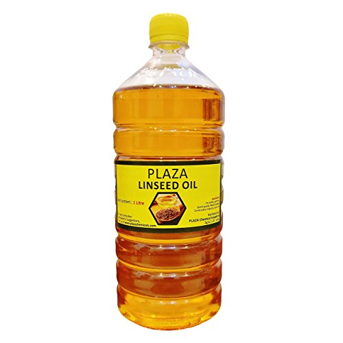 Linseed Oil Pure - 1 Litre Pack by PLAZA (Bat Oil) Used for Wood Polishing and Wood Strength, Used for Cricket Bats, Used for Mixing in Paints for Enhanced Gloss, Good Massaging Oil.