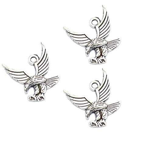 30pcs Vintage Antique Silver Alloy Eagle Birds Charms Pendant Jewelry Findings for Jewelry Making Necklace Bracelet DIY 19x17mm (30pcs Eagle) (Eagle Bird Charm)