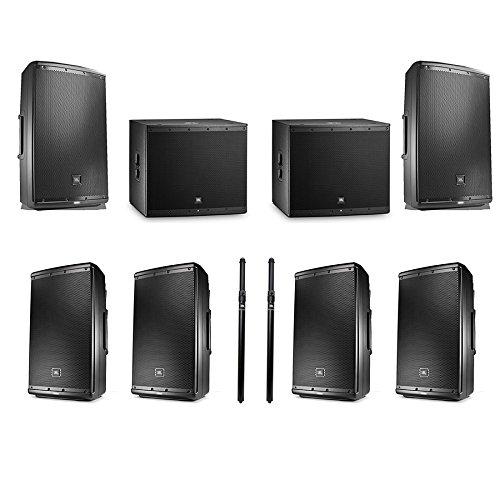 JBL EON615 1000 watt 15' powered speaker (Pair) with 2 JBL EON618S Subwoofer, 4 JBL EON612 Monitors and 2 Poles from JBL Professional