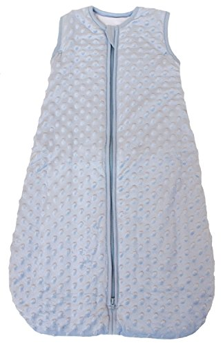 "Baby Sleeping Bag ""Minky Dot"" Blue, Quilted Winter Model, 2.5 Tog (Small (3 – 11 mos))"
