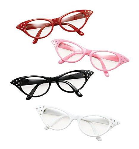 Ladies White 50s Rock & Roll Glasses (Halloween Costumes 50s)