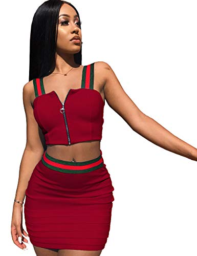 Piece Zipper 2 - Womens Sexy 2 Pieces Bandage Zipper Crop Tops Bodycon Skirts Party Clubwear Dress Outfit Set (S, red)
