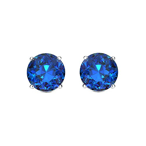 Cate & Chloe 2Ct. Beyonce Gemstone Silver Stud Earrings, Large Blue Sapphire Round Brilliant Crystal Silver Studs Earring Sets for Women, Womens Rhinestone Fashion Statement Jewelry
