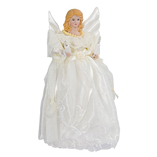 Kurt Adler 10-Inch UL 10-Light Gold/Ivory Angel Treetop (Topper Tree Angel Simple)