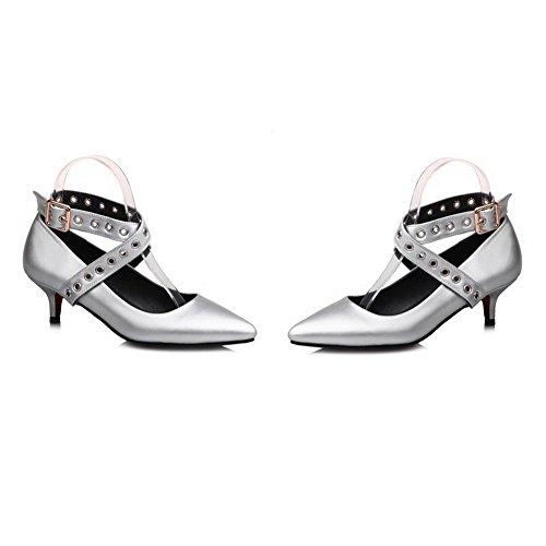 Odomolor Women's Pointed-Toe Microfiber Kitten-Heels Court Shoes Silver 4P1VgOPnd