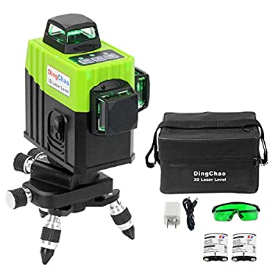 DINGCHAO Green Laser Level 360 Degree Self-Leveling 3 x 360 Line Lasers Three-Plane Leveling and Alignment Laser Levels for Construction Tools with Multi-functional Stand, 2 rechargeable batteries