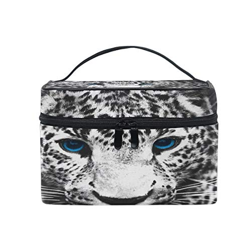 Makeup Cosmetic Bag Animal Leopard Black White Portable Storage with -