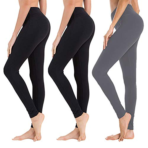 High Waisted Leggings for Women - Soft Athletic Tummy Control Pants for Running Cycling Yoga Workout - Reg & Plus Size (3 Pack Black x 2, Dark Grey, Plus Size (US 12-24))