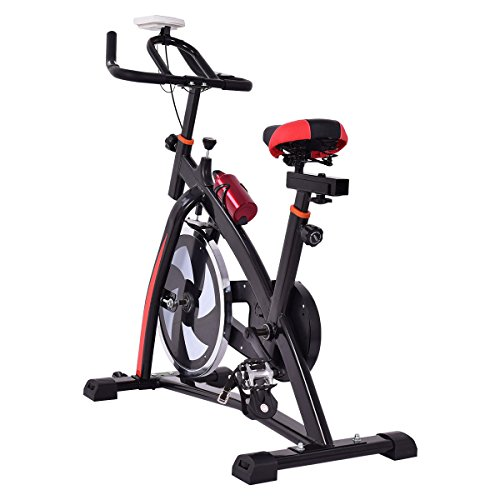 Goplus Adjustable Exercise Bike, Stationary bike, Indoor Cycle Bike, Trainer for Workout Fitness