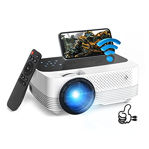 Mini Projector, 1080P Full HD Supported, WiFi Projector, 6500Lux Film Projector with Synchronize Mobile Screen, Video Projector Compatible with TV Stick, PS5, HDMI, USB, AV, SD, Laptop (2021 Upgraded)
