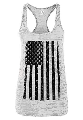 (Distressed Black USA Flag - United States Women's Racerback Tank Top (White, Large))