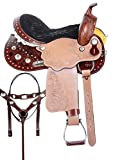 AceRugs Two Tone Silver Studded Barrel Racing Show Trail Leather Western Horse Saddle TACK Set Package