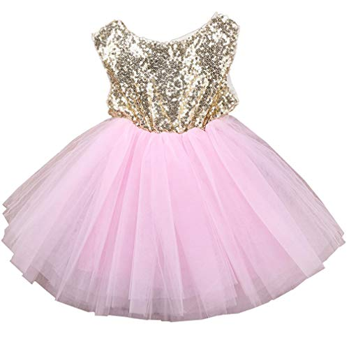 (Toddler Girl Baby Lace Flower Sequin Tutu Dress Tulle Pageant Wedding Party Formal Girls Dresses pink02 12-18M)