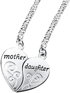 Corazón schmuckset madre /& hija en plata oro 3 collares regalo de Día de la madre