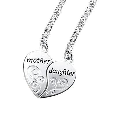 88d829179145 Veuer 2 cadenas joyas para mujer madre   Hija Corazón Collar de cadena  Familia Amor Mujer