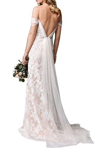 Gorgeous Bride Romantisch Träger Meerjungfrau Satin Tüll Spitze Lang Brautkleider Hochzeitskleider