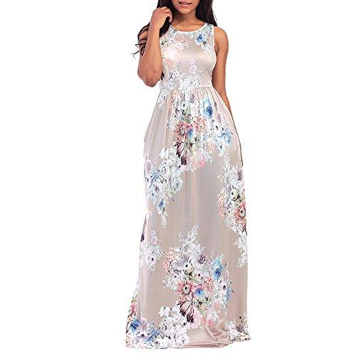 (HIRIRI Women Soft Smooth Formal Gown Evening Dresses Floor Length Sleeveless Dress O-Neck Printed Beige)