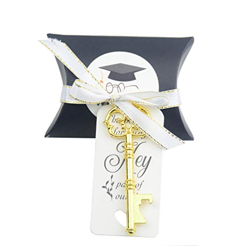 50pcs Graduation Favor Honor Souvenir Gift Set Pillow Candy Box Vintage Skeleton Key Bottle Openers Escort Gift Card Thank You Tag French Ribbon (Real Gold)