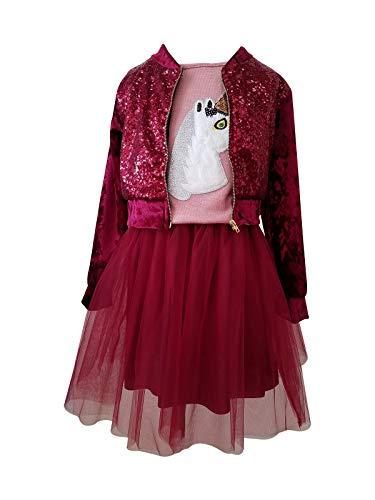 Big Girls' 3 Pieces Combo Tank Top & Sequin Jacket & Tulle Skirt Burgundy 10 JKS 2151