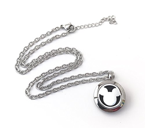 FIKA Child Mickey Mouse Aromatherapy Essential Oils Diffuser Air Freshener Necklace Pendant Locket Pads Included (Silver) ()