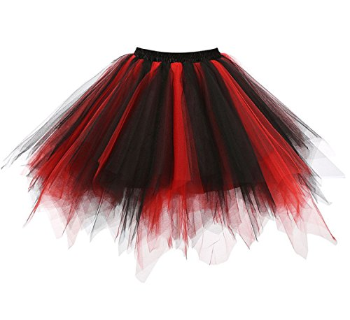 Dressever Vintage 1950s Short Tulle Petticoat Ballet Bubble Tutu Black/Red Small/Medium