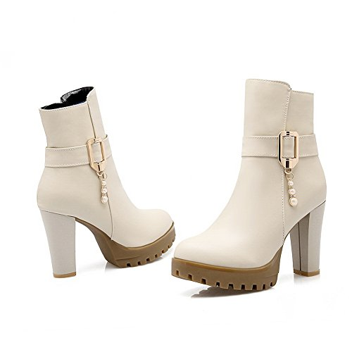 Ladies Chunky Bead Beige Platform Buckle AdeeSu Leather Imitated Boots Heels 6RaRxF