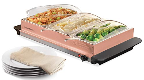 HomeCraft BSC25 3-Station 2.5-Quart Buffet Server & Warming Tray - Copper by Nostalgia